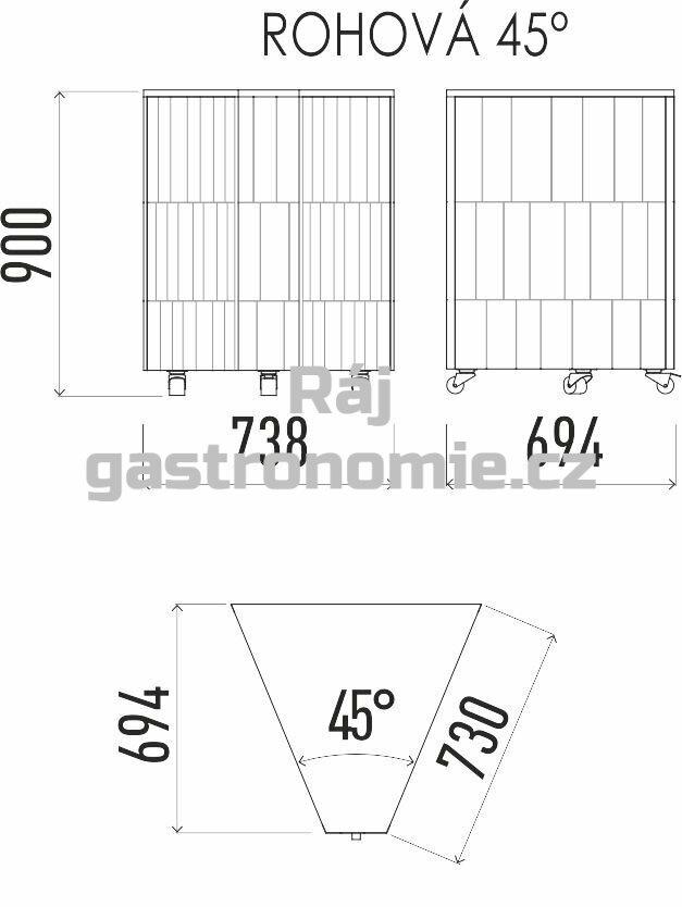 Neutrální rohový modul 45 NE 45°