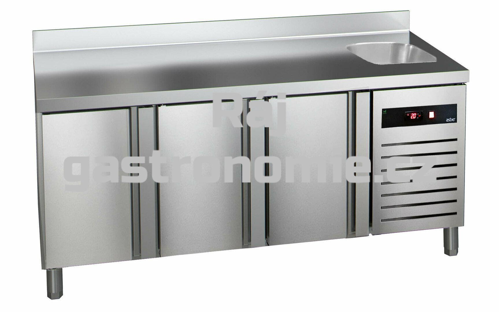 Mrazící stůl Asber GTN-7-180-30 - agregát vlevo + dřez