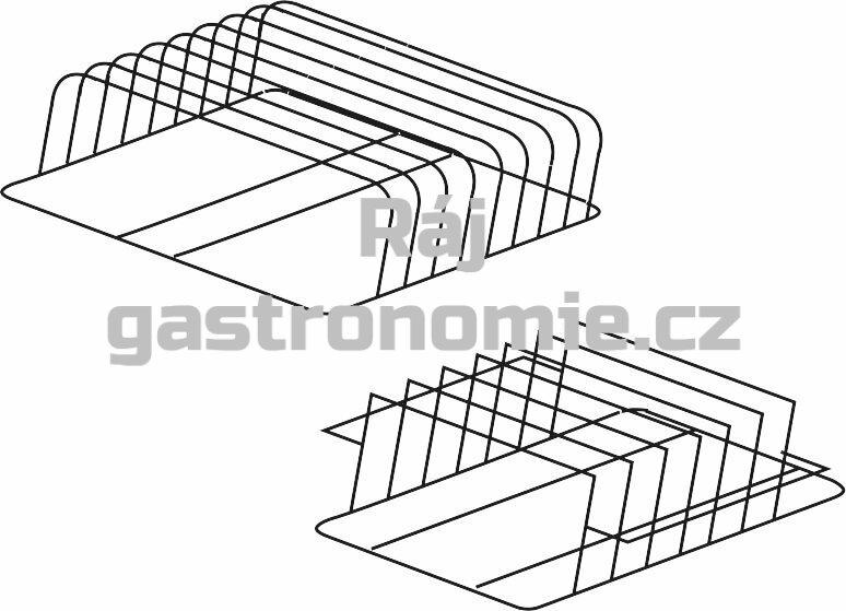 Držák plechů a podnosů nerez 500 x 600 x 160 mm (rozteč 45 mm)