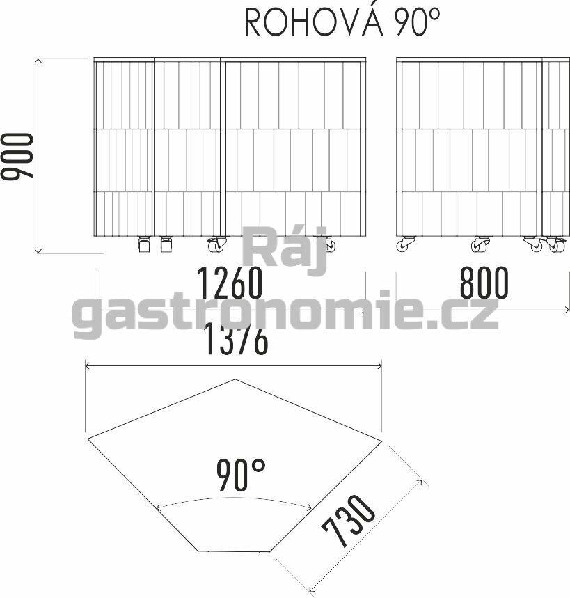 Neutrální rohový modul 90 NE 90°