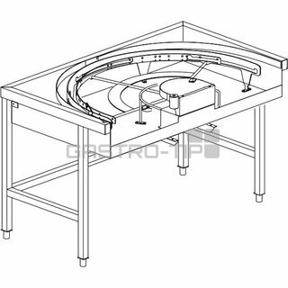 Stůl rohový 180° mechanizovaný 850 x 1500 x 850 mm